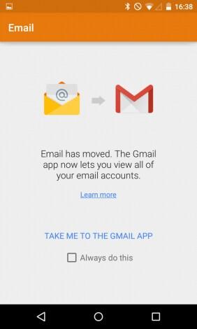 Email ci rimanda ora a Gmail