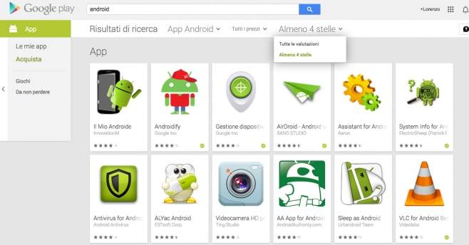 Google Play 4 stelle