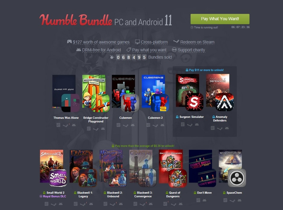 Humble Bundle PC and Android 11 new game