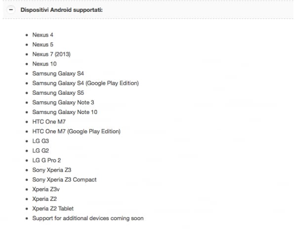 Supporto Chromecast Xperia Z2