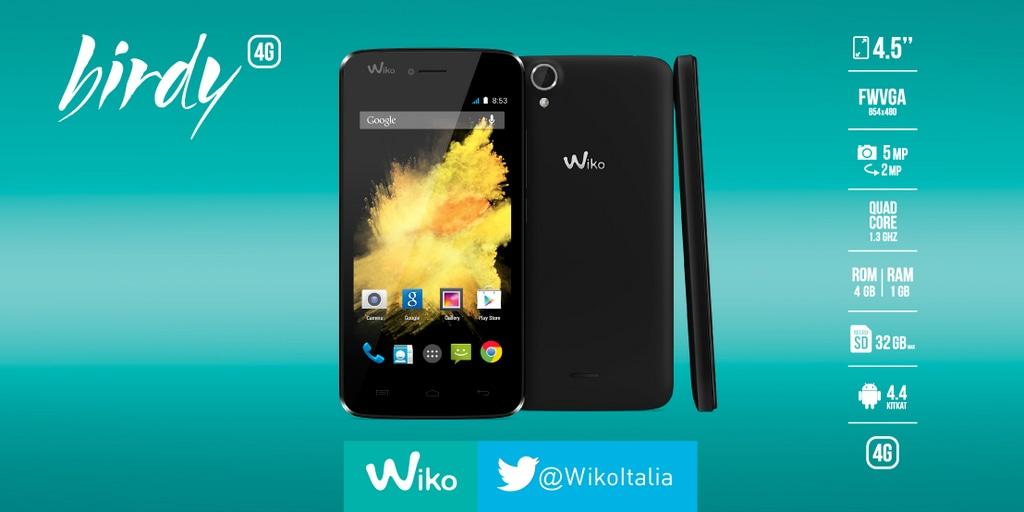 Wiko Birdy arriva ufficialmente in Italia