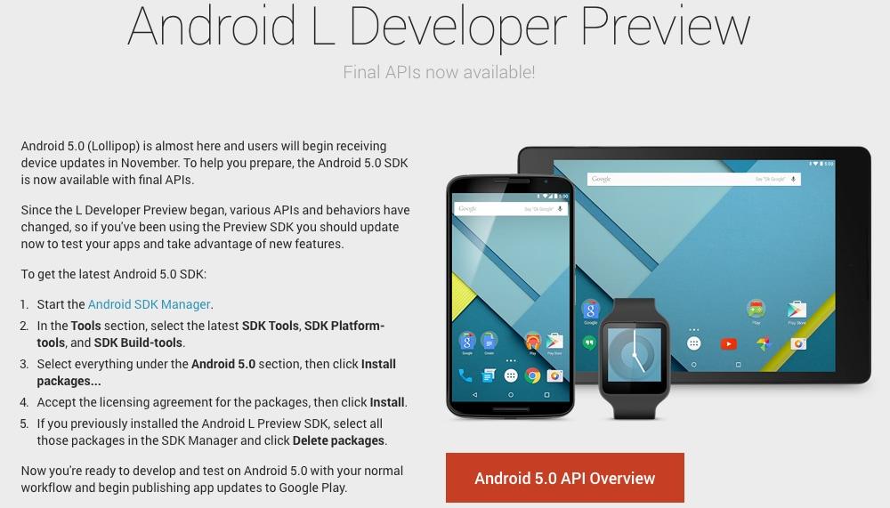 Disponibili le nuove developer preview di Android 5.0 Lollipop e l'SDK aggiornato