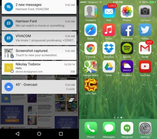 Android 5.0 vs iOS 8 notifiche