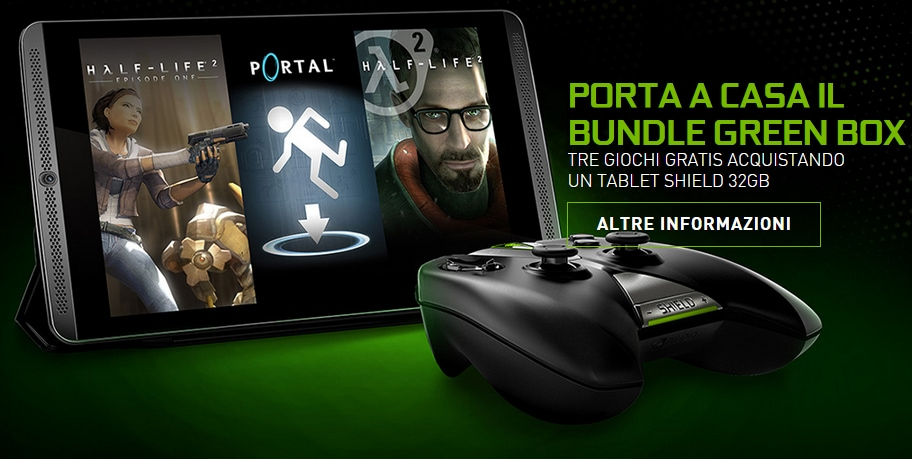 Acquistando NVIDIA Shield Tablet 32 GB LTE in regalo controller e bundle Green Box di Valve