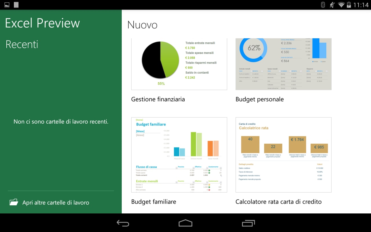 MS Excel per Android 5