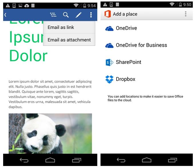 Office Mobile per Android si aggiorna con supporto a Dropbox e condivisione su OneDrive