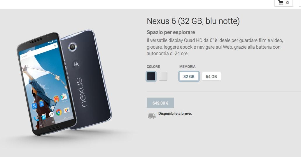 Motorola Nexus 6 Play Store Italia