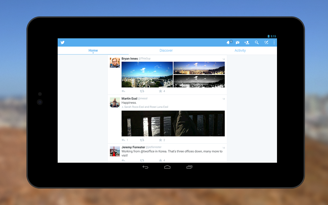 Twitter Android tablet