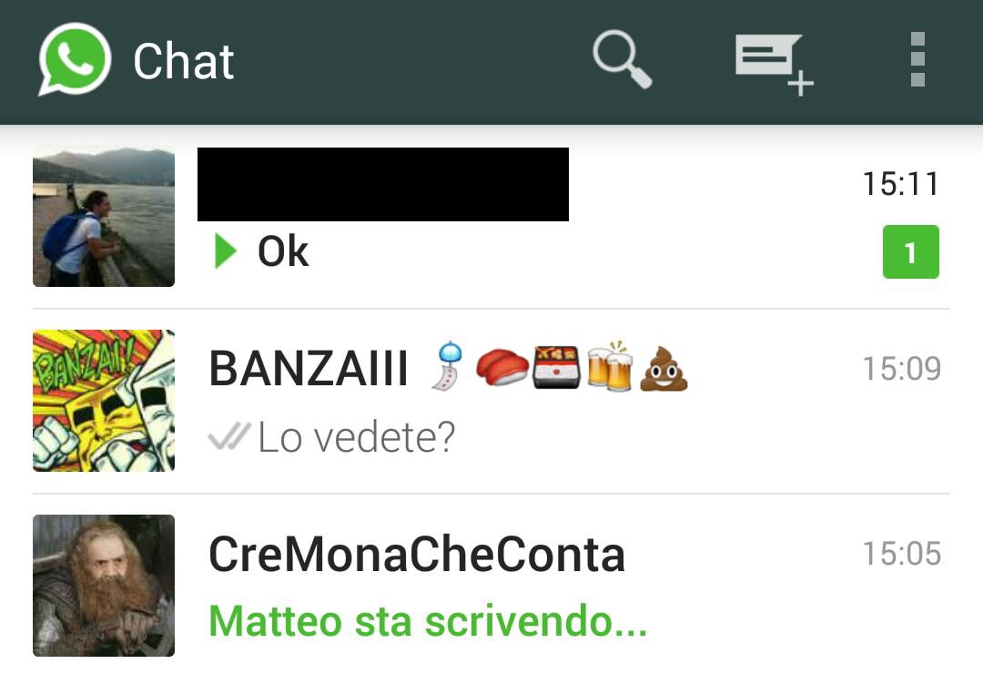 WhatsApp mostra chi sta scrivendo nelle chat di gruppo