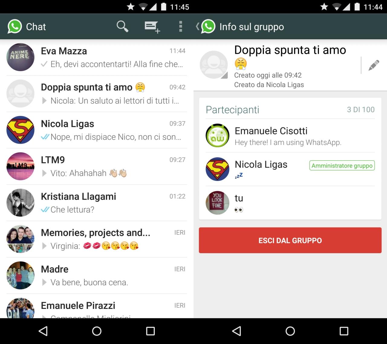 WhatsApp contatti circolari