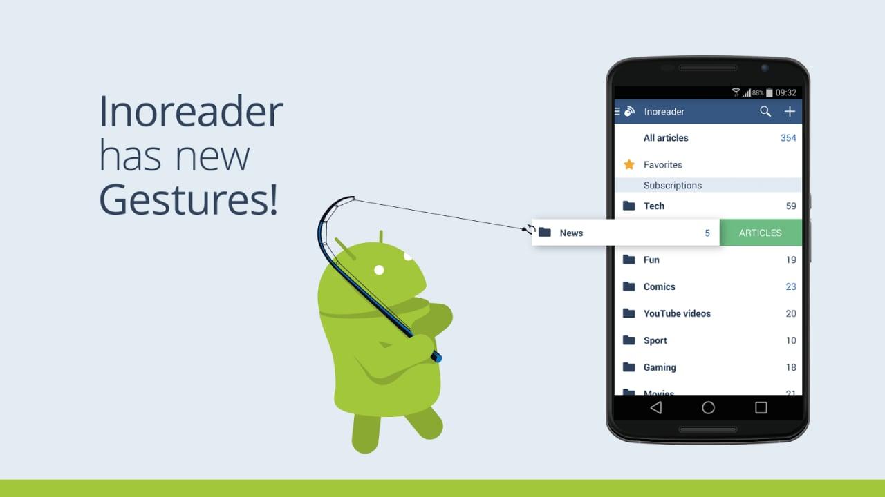 Inoreader introduce gesture, integrazione con Pocket e molto altro