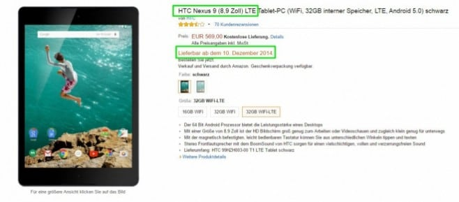 nexus 9 lte amazon