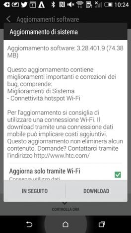 one m8 aggiornamento