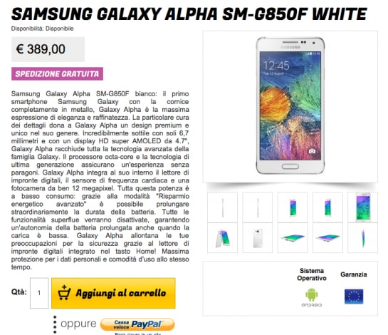 Galaxy Alpha stockisti offerta