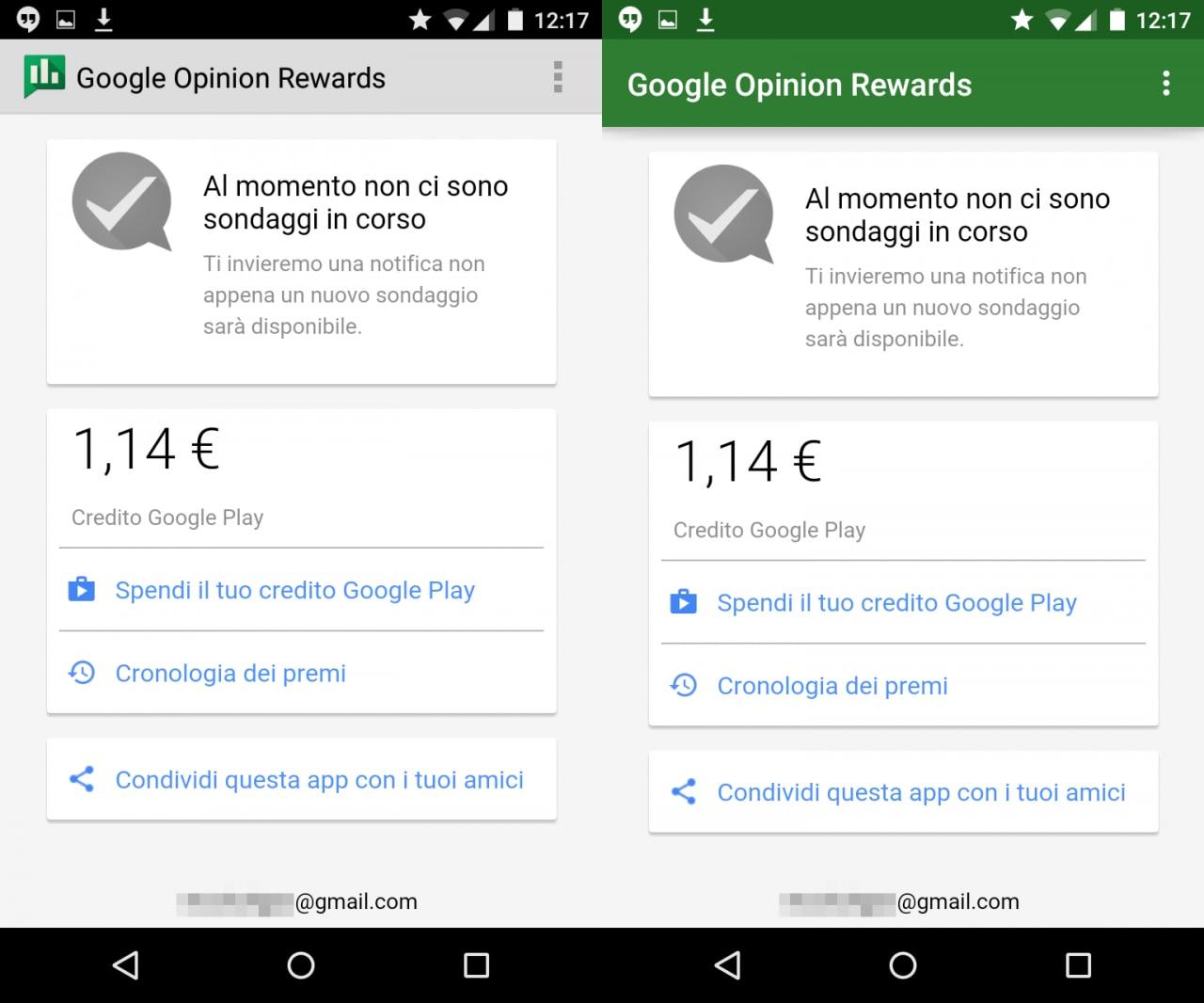 Google Opinion Rewards diventa in Material Design (ma i sondaggi non aumentano)