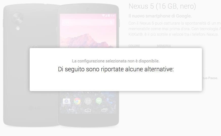 Nexus 5 esaurito italia