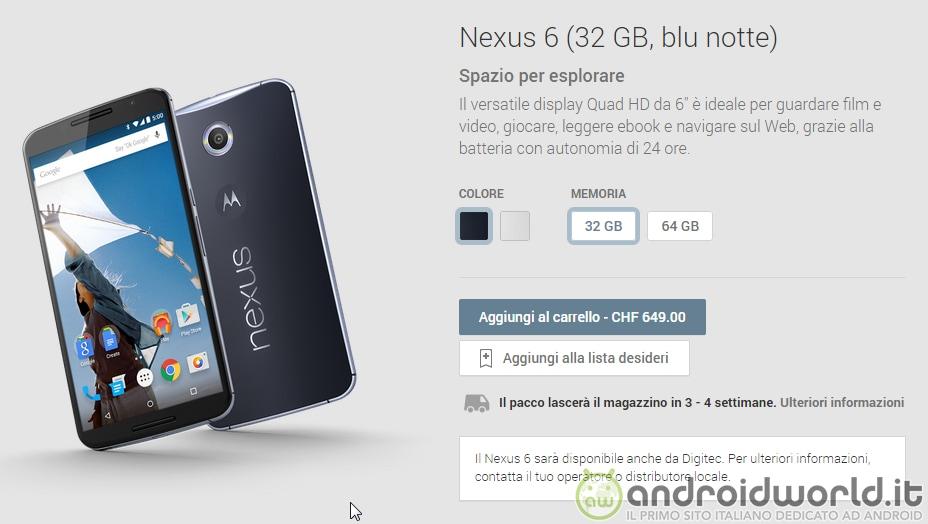 Volete un Nexus 6? Compratelo in Svizzera, costa molto meno!