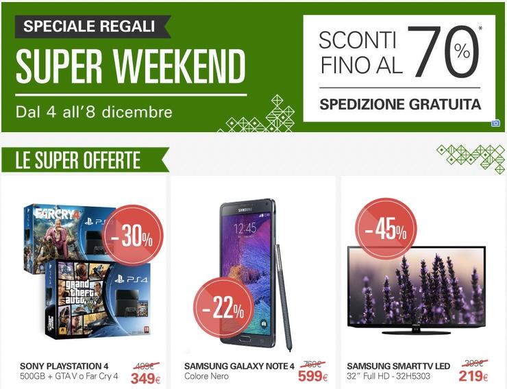 Super Weekend eBay: sconti fino al 70% e spedizione gratuita