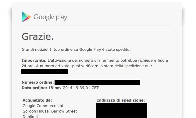 Spedizioni Nexus 6