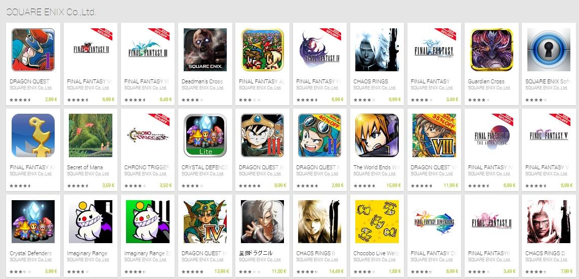 Grandi sconti per il catalogo di Square Enix sul Play Store
