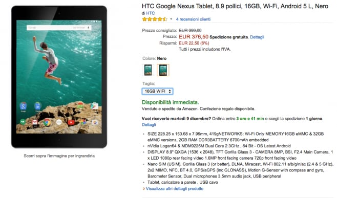 amazon nexus 9 ribasso