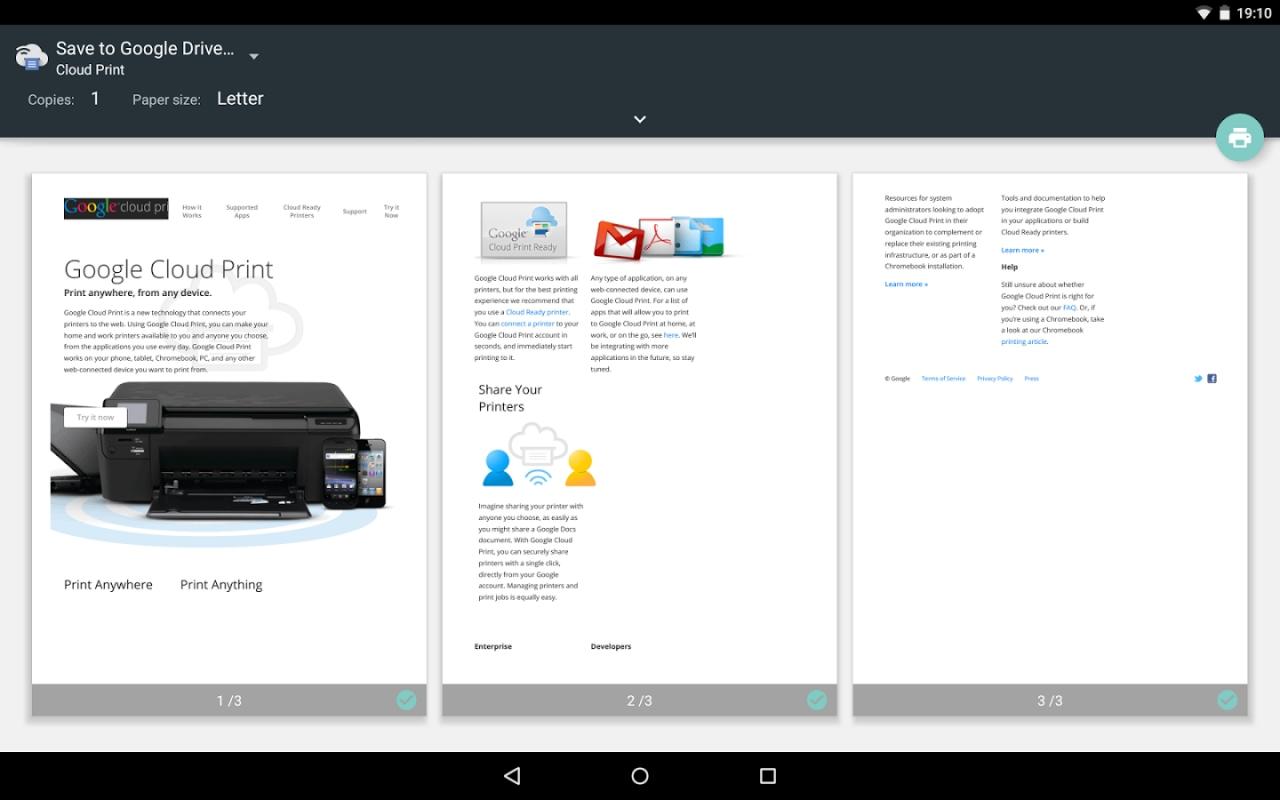 Google Cloud Print diventa material design nell'ultimo aggiornamento