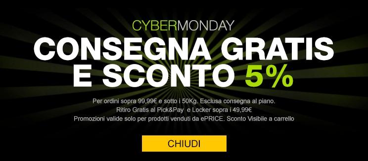 È Cyber Monday anche da ePRICE: 5% di sconto e spedizione gratuita su tutto il catalogo