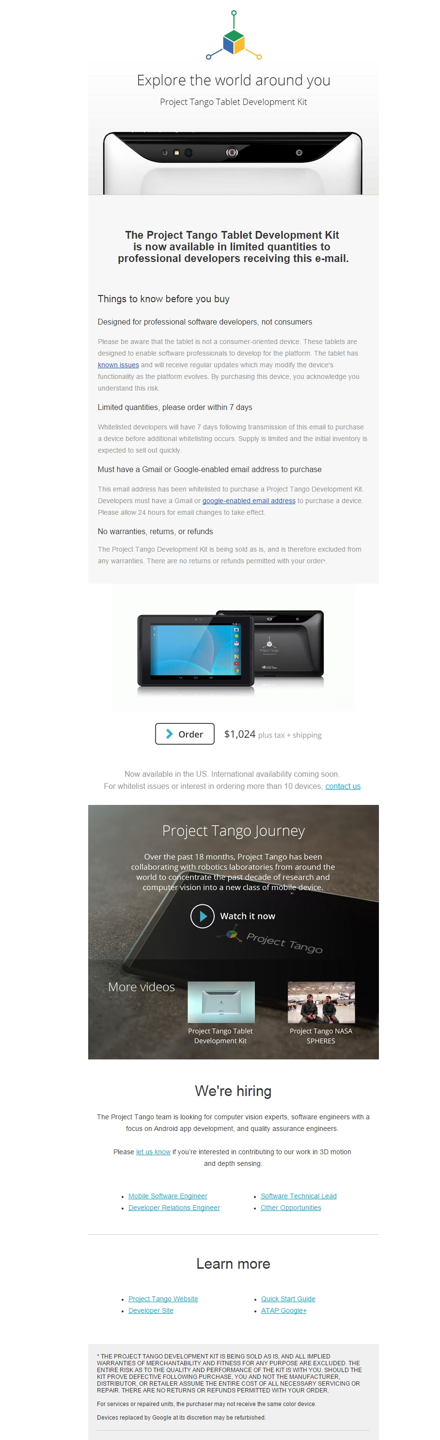 mail project tango acquisto