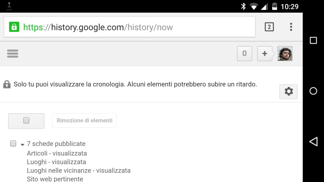 Cronologia Google Now