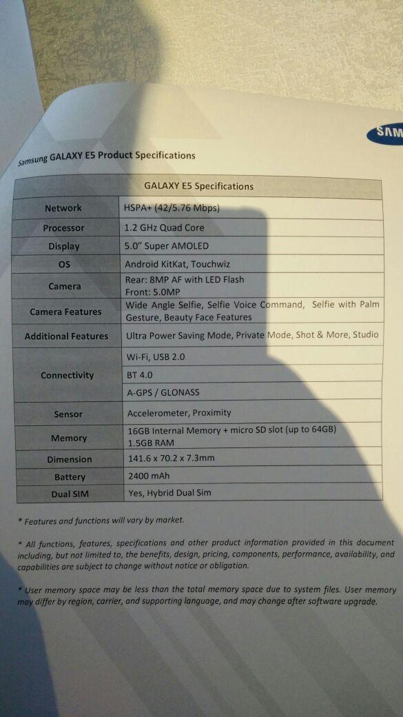 Galaxy E5 caratteristiche