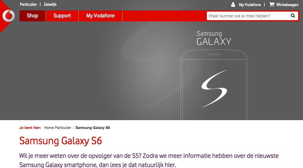 Galaxy S6 Vodafone NL Olanda