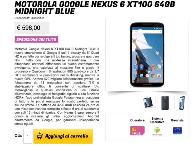 Motorola Nexus 6 64GB stockisti