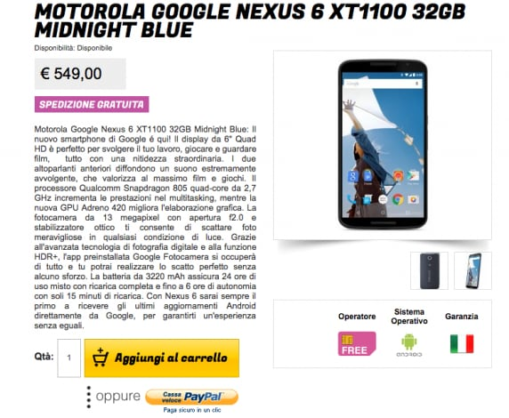 Motorola Nexus 6 gli stockisti