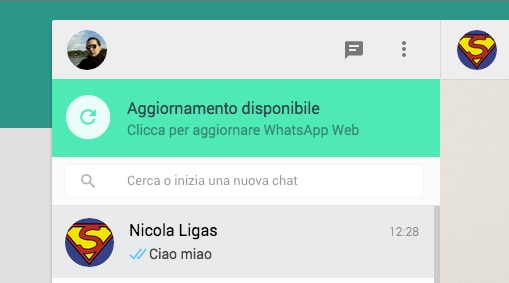 WhatsApp Web aggiornamento