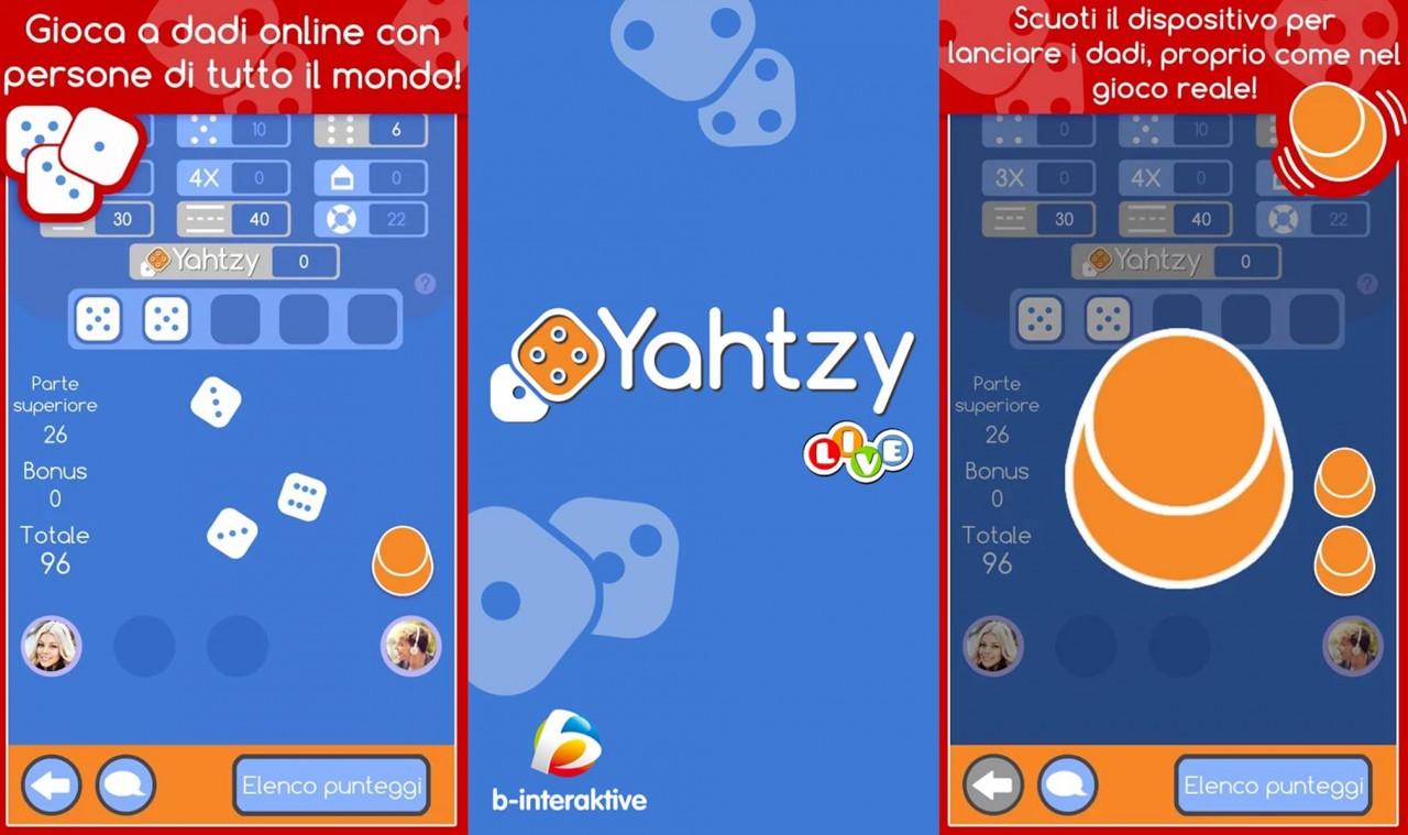 Con Yahtzy LIVE potete sfidare online gli amici a Yahtzee e urlare Yahtzee sbattendo la testa su una mensola