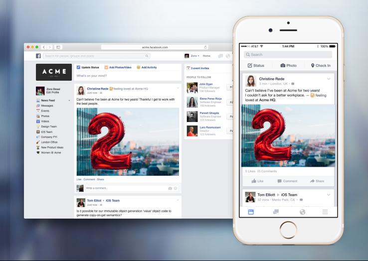 Facebook At Work permetterà alle aziende di creare un loro social network