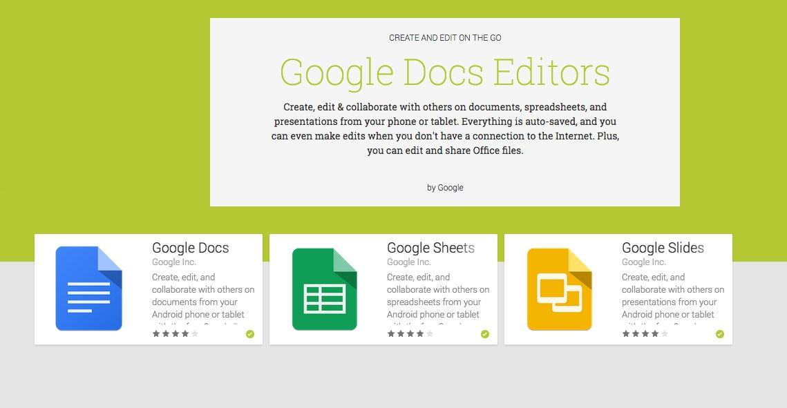 google documenti presentazioni fogli