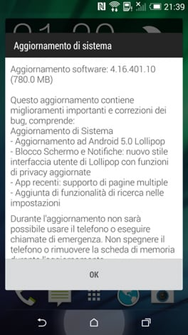 htc one (M8) screenshot aggiornamento lollipop