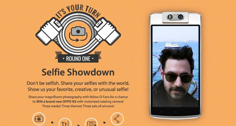 Quale modo migliori di vincere un Oppo N3 se non con un selfie?