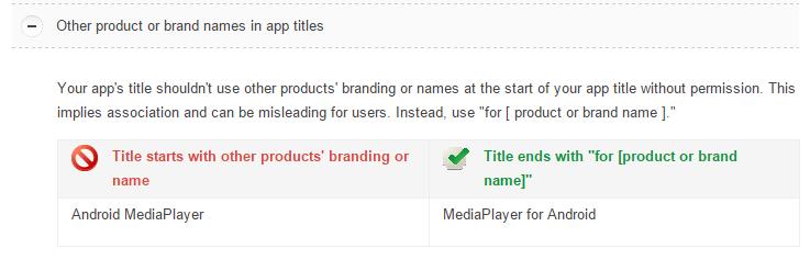 regole nomi google play
