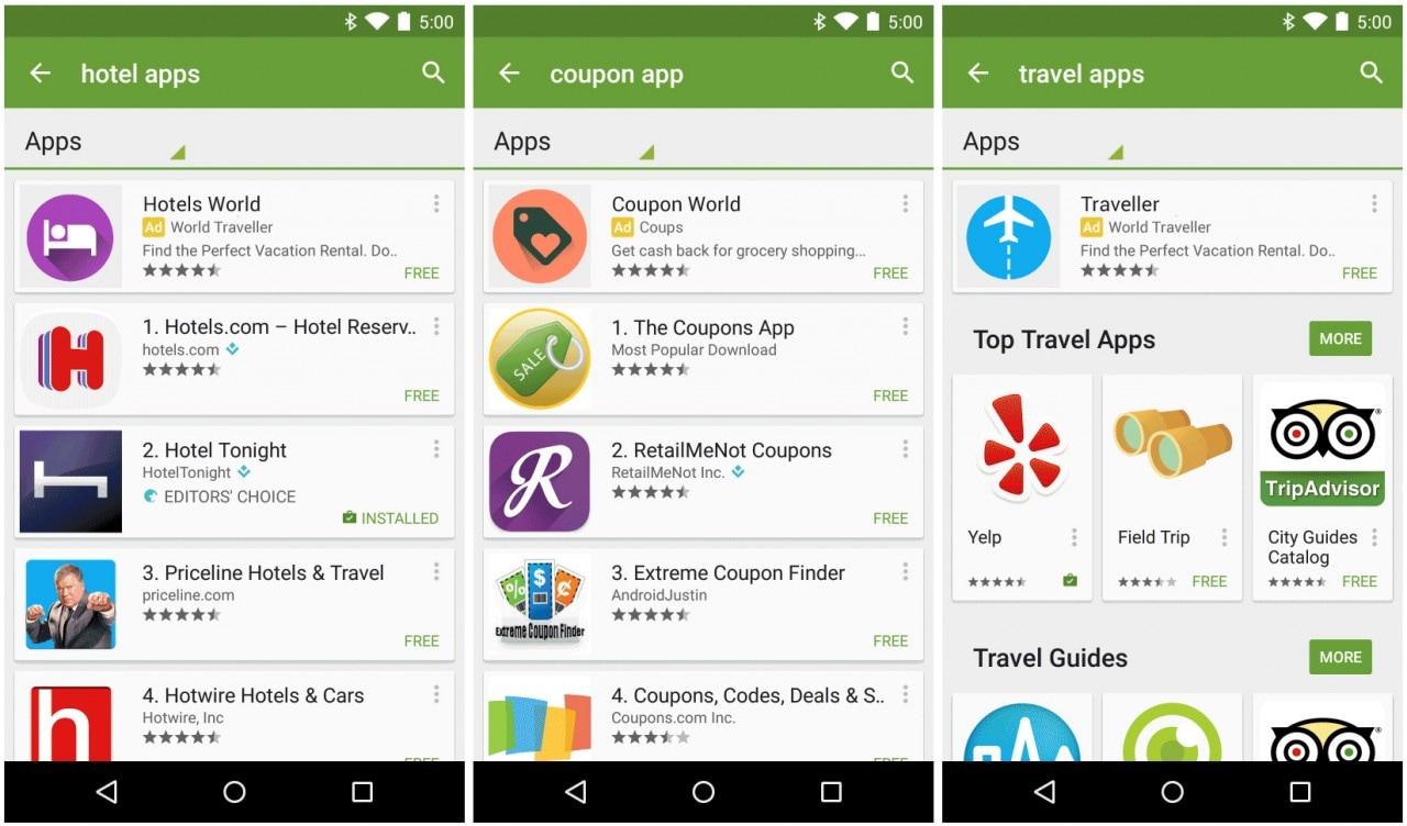Google Play Store app sponsorizzate