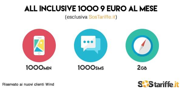 Wind All Inclusive 1000: 1.000 minuti, 1.000 SMS e 2 GB di traffico a 9€ / mese, ma solo per poco