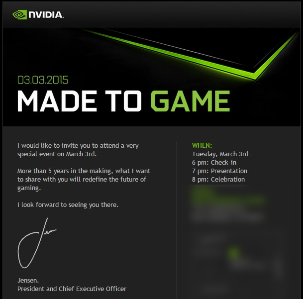 Evento NVIDIA il 3 marzo: in arrivo un dispositivo nato dopo 5 anni di lavoro
