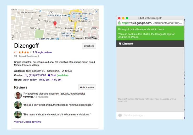 Google testa la possibilità di chattare con i commercianti