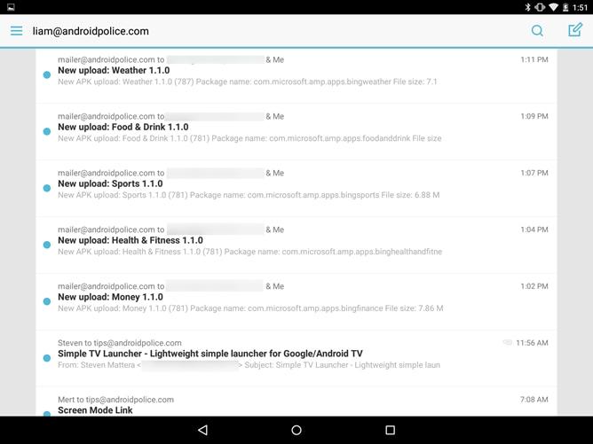 Mailbox è disponibile anche sui tablet ma senza sforzarsi troppo