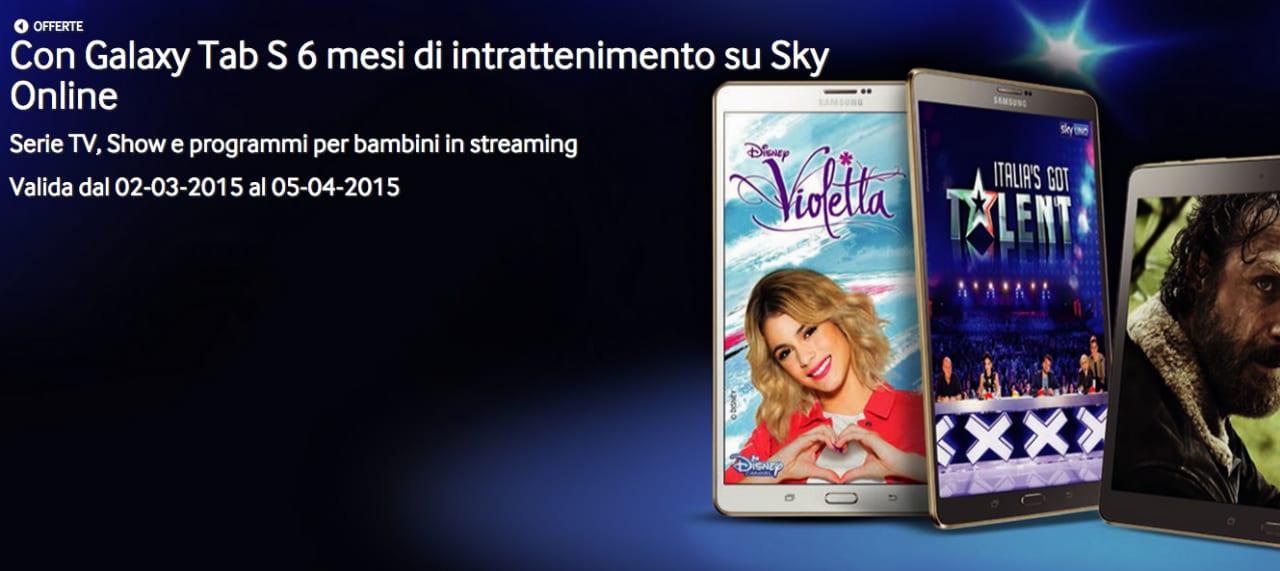 Sei mesi di Sky Online in regalo acquistando un Samsung Galaxy Tab S