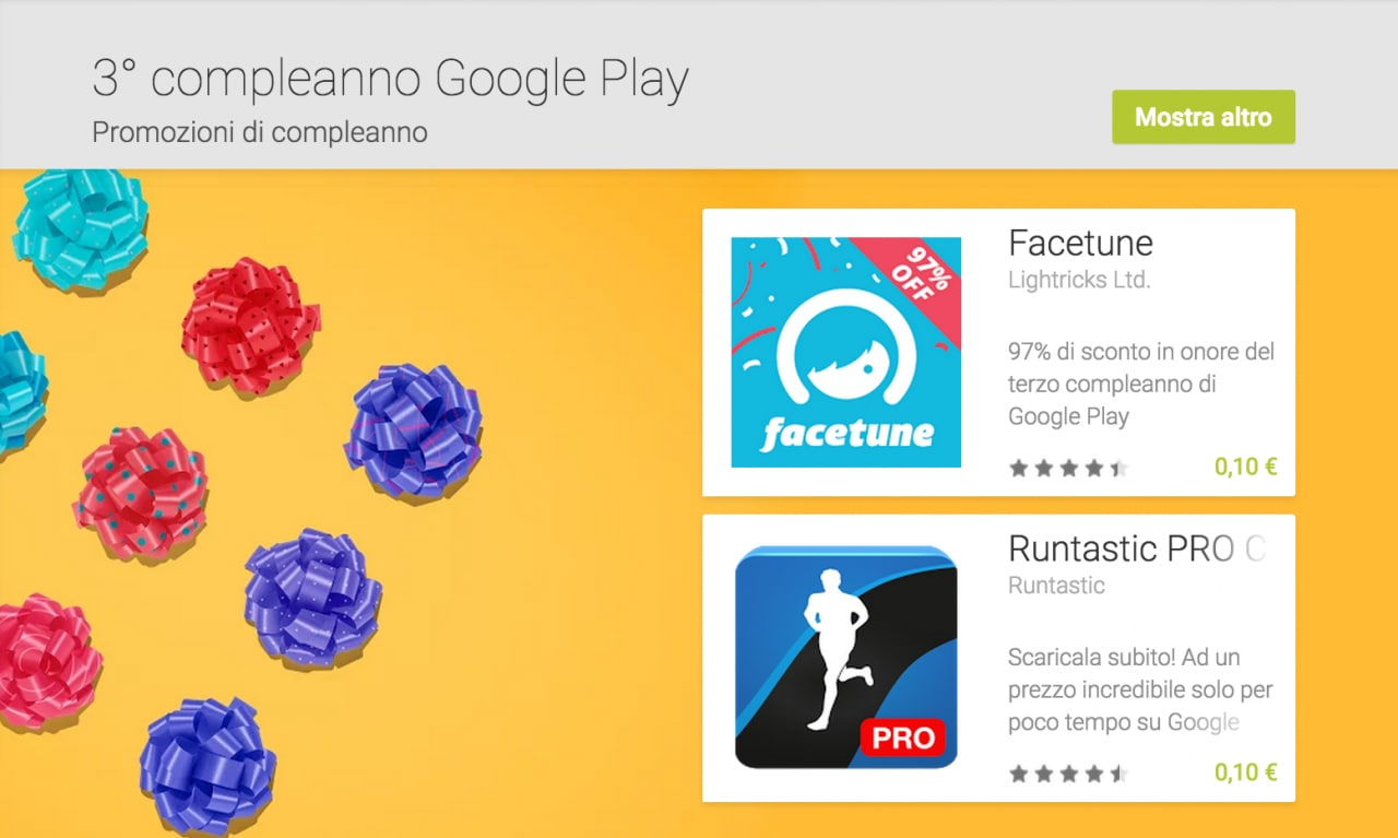 Google Play 3° compleanno