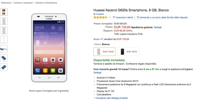 Huawei Ascend G620s in offerta su Amazon