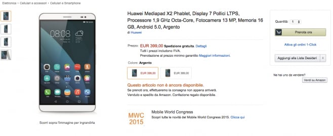 Huawei MediaPad X2 pre-ordine amazon