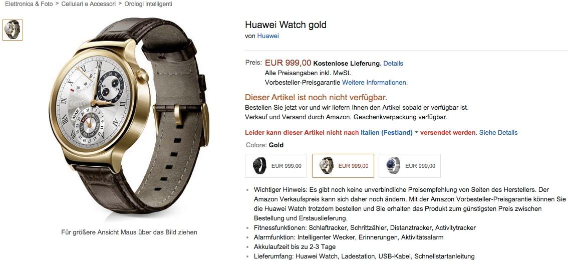 Huawei Watch all'incredibile prezzo di 999€ su Amazon Germania